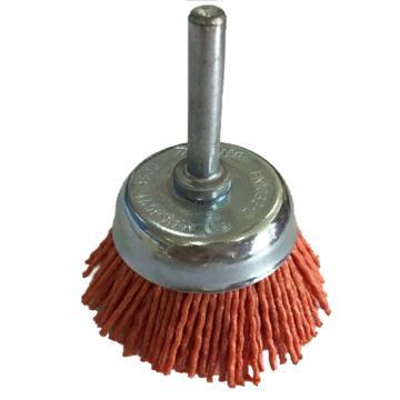 库兰 带柄钢丝轮,50mm,研磨丝/1.2mm丝径,橙色/80目/6mm杆 /镀锌/RPM4500,10个/盒