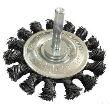 库兰 带柄钢丝轮,75mm,扭丝,钢丝/0.5mm丝径/6mm杆/镀锌/RPM15000,12个/盒