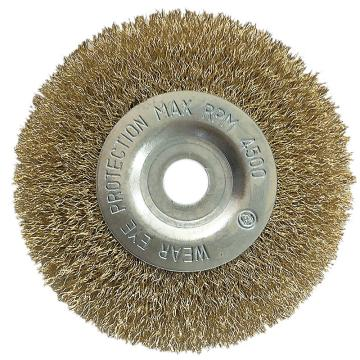库兰平行钢丝轮,125mm,镀铜钢丝/0.3mm丝径/外径100/孔16-12.7/RPM4500,1个/盒