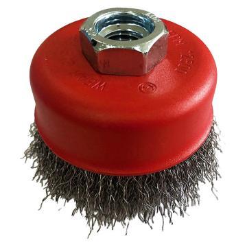 库兰碗形钢丝轮,100螺碗,钢丝/0.3mm丝径/M14 /哑光喷红/RPM8500,1个/盒