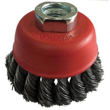 库兰碗形钢丝轮,75mm扭碗,钢丝/0.5mm 丝径/M14 /哑光喷红/RPM12500,1个/盒