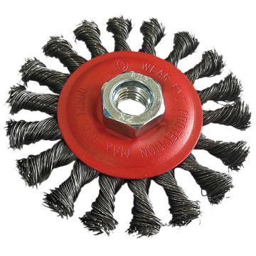 库兰盘形钢丝轮,100螺扭平细头,钢丝/0.5mm 丝径/M14 /哑光喷红/RPM12500,2个/盒