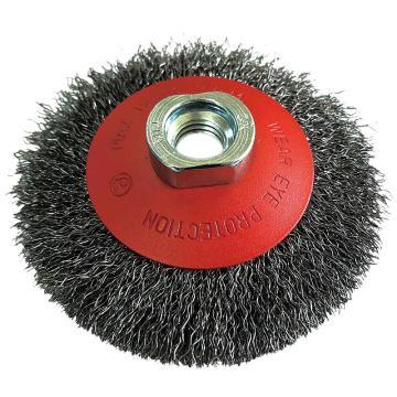 库兰盆形钢丝轮,115盆形,钢丝/0.3mm 丝径/M14 /哑光喷红/RPM12500,1个/盒