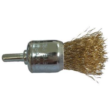 库兰带柄钢丝刷,19mm齐头刷,镀铜钢丝/0.3mm丝径 /6mm杆/镀锌/RPM20000,12个/盒