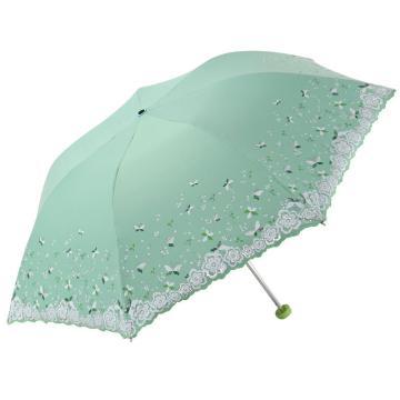 天堂伞,33204E 梦幻花蕾亚光绒色胶三折超轻绣花晴雨伞 53cm*7K 水彩绿
