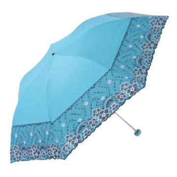 天堂伞,33204E 梦幻花蕾亚光绒色胶三折超轻绣花晴雨伞 53cm*7K 蓝色
