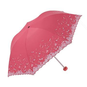 天堂伞,33204E 梦幻花蕾亚光绒色胶三折超轻绣花晴雨伞 53cm*7K 西瓜红
