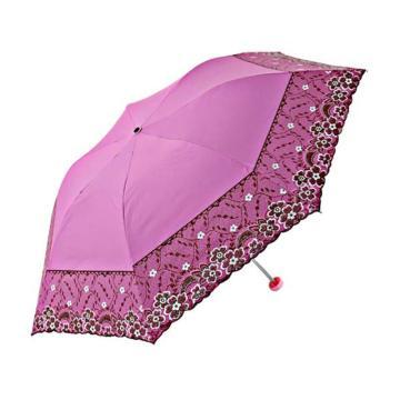天堂伞,33204E 梦幻花蕾亚光绒色胶三折超轻绣花晴雨伞 53cm*7K 玫红