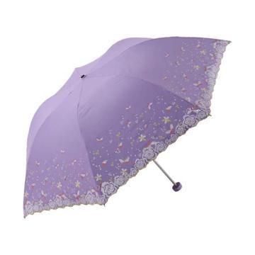 天堂伞,33204E 梦幻花蕾亚光绒色胶三折超轻绣花晴雨伞 53cm*7K 紫兰