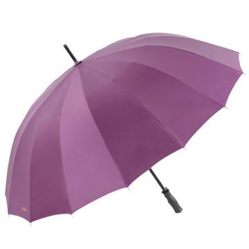 天堂伞,10009ELCJ 加大加固16根伞骨碰击布黑胶自开商务直杆晴雨伞 65cm*16k 深紫
