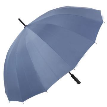 天堂伞,10009ELCJ 加大加固16根伞骨碰击布黑胶自开商务直杆晴雨伞 65cm*16k 兰灰