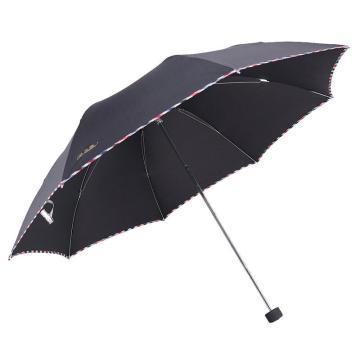 天堂伞,307E 晴雨伞藏青折叠加大雨伞拒水一甩干商务伞 57cm*8k 黑色