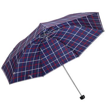 天堂伞,339S 苏格兰风格格子三折钢伞晴雨伞 57cm*7k 深藏青