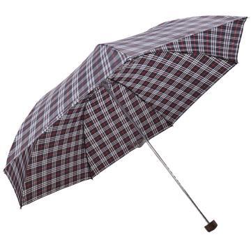 天堂伞,339S 苏格兰风格格子三折钢伞晴雨伞 57cm*7k 兰黑