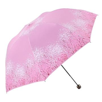 天堂伞,三折叠黑胶防晒防紫外线太阳伞铅笔伞蘑菇伞 30134ELCJ莲色