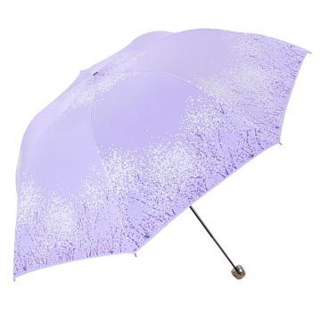 天堂伞,三折叠黑胶防晒防紫外线太阳伞铅笔伞蘑菇伞 30134ELCJ紫色