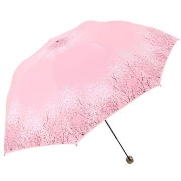 天堂伞,三折叠黑胶防晒防紫外线太阳伞铅笔伞蘑菇伞 30134ELCJ粉色