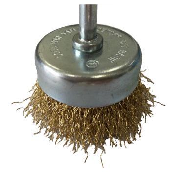 库兰 带柄钢丝轮,75mm,镀铜钢丝/0.3mm丝径 /6mm杆 /镀锌/RPM4500,12个/盒