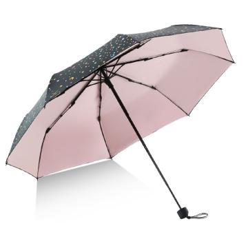 天堂伞,遮阳伞太阳伞三折叠黑胶防晒防紫外线晴雨伞 星辰浅粉543E