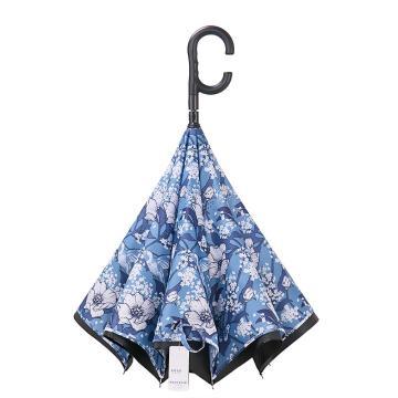 天堂伞,长柄伞直杆伞双层车载伞反向伞黑胶防晒防紫外线晴雨伞遮阳伞太阳伞 清雅蓝色3033E