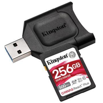 金士顿存储卡,MLPR2 256GB U3 V90 SD卡 读速300MB/s 写速260MB/s 支持8K视频 附带UHS-II读卡器