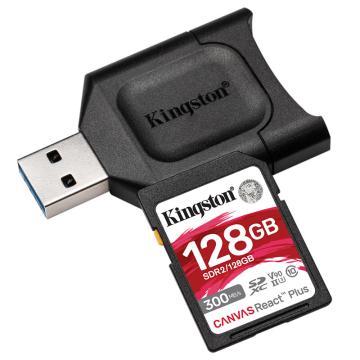 金士顿存储卡,MLPR2 128GB U3 V90 SD卡 读速300MB/s 写速260MB/s 支持8K视频 附带UHS-II读卡器