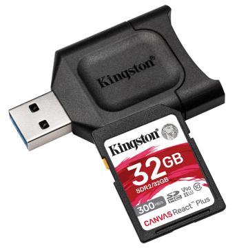 金士顿存储卡,MLPR2 32GB U3 V90 SD卡 读速300MB/s 写速260MB/s 支持8K视频 附带UHS-II读卡器