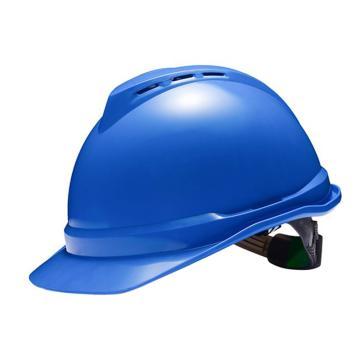 梅思安MSA 安全帽,10172480,V-Gard ABS豪华型安全帽 蓝 超爱戴帽衬 D型下颏带