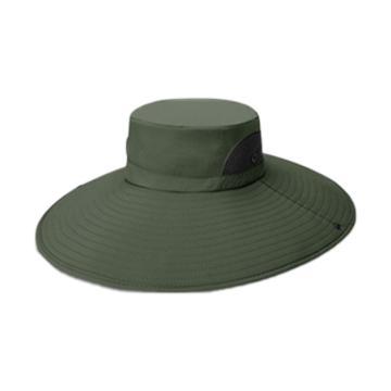 西域推荐 户外大檐遮阳帽,军绿色