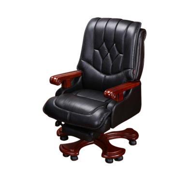 纽麦真皮老板椅,可躺高档电脑椅 ,黑色头层牛皮,带搁脚