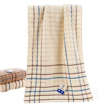 金号 纯棉毛巾吸水方格面巾,84g 70*34cm GA1016,颜色随机