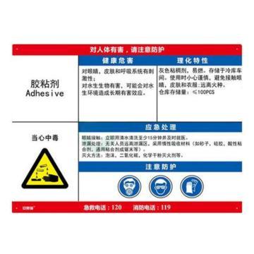 金能电力 职业病告知卡-胶黏剂,铝合金板,600×450mm,1mm板厚