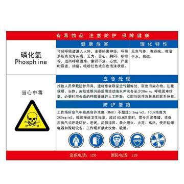 金能电力 职业病告知卡-磷化氢,铝合金板,600×450mm,1mm板厚