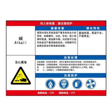 金能电力 职业病告知卡-碱,铝合金板,600×450mm,1mm板厚
