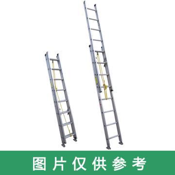 金锚 美标铝合金伸缩梯,踏棍数:16 额定载荷(KG):100 延伸长度(米):3.96,AM42-208II