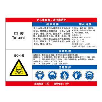 金能电力 职业病告知卡-甲苯,PVC板,600×450mm,2mm板厚