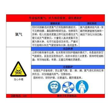金能电力 职业病告知卡-氯气,PVC板,600×450mm,2mm板厚