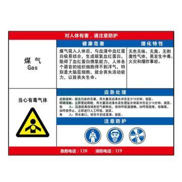 金能电力 职业病告知卡-煤气,PVC板,600×450mm,2mm板厚