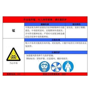 金能电力 职业病告知卡-锰,PVC板,600×450mm,2mm板厚