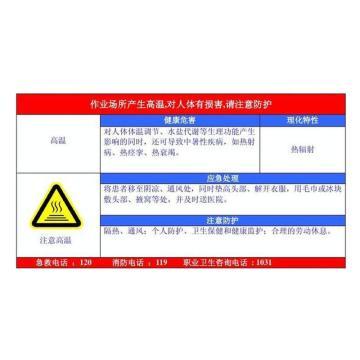 金能电力 职业病告知卡-高温,PVC板,600×450mm,2mm板厚