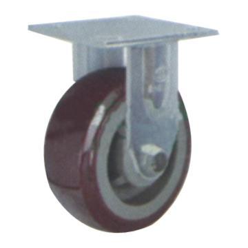 申牌 4寸塑芯聚氨酯重型脚轮,平底固定 载重(kg):250 轮宽(mm):45 全高(mm):145,35A04-1104