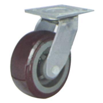 申牌 5寸塑芯聚氨酯重型脚轮,平底万向 载重(kg):300 轮宽(mm):48 全高(mm):165,35A08-1105