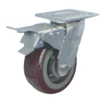 申牌 8寸塑芯聚氨酯重型脚轮,平底刹车 载重(kg):400 轮宽(mm):50 全高(mm):240,35A23-1107