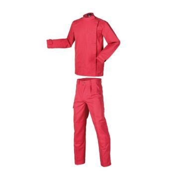 锦禾 电焊防护服套装,阻燃织物面料,砖红色,DJ1701+DK1701-L