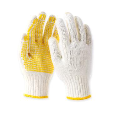 Raxwell 600g毛纺点塑手套,黄色点珠,7针,12副/袋,RW2106