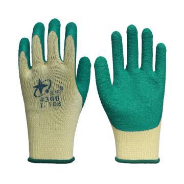 星宇 乳胶涂层手套,L108-黄绿,乳胶皱纹涂层手套