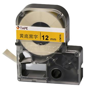 威码 覆膜聚酯标签带,黄底黑字 12mm×8.5m 单位:卷