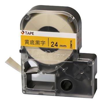 威码 覆膜聚酯标签带,黄底黑字 24mm×8.5m 单位:卷