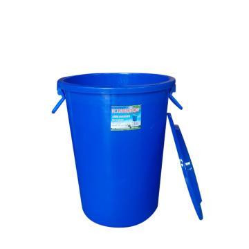 滋仁 万用连盖圆桶,60L 塑料柄 蓝色 LT-023 单位:个