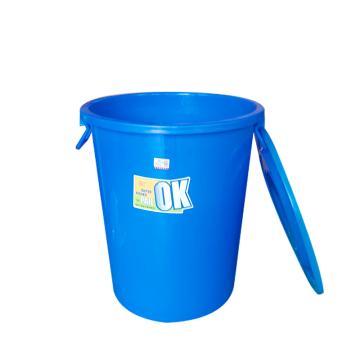 滋仁 圆形带盖垃圾桶水桶,40L 塑料柄 蓝色 LT-102 单位:个